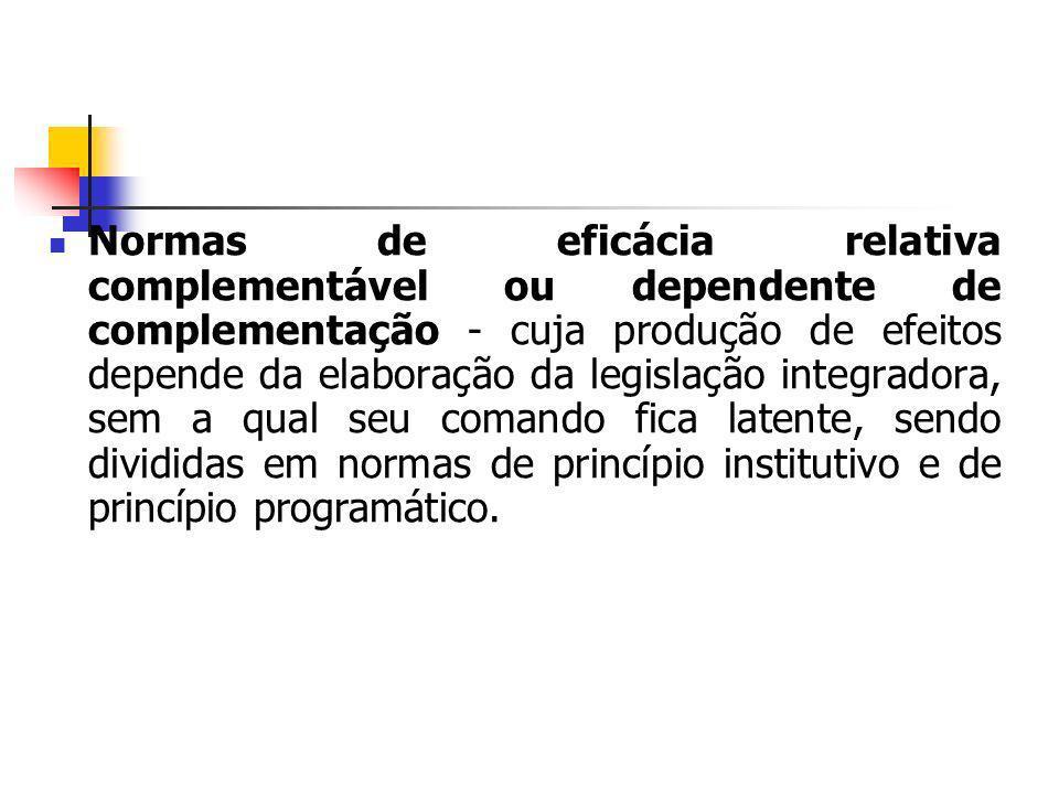 Normas de eficácia relativa complementável ou dependente de complementação - cuja produção de efeitos depende da elaboração da legislação integradora,