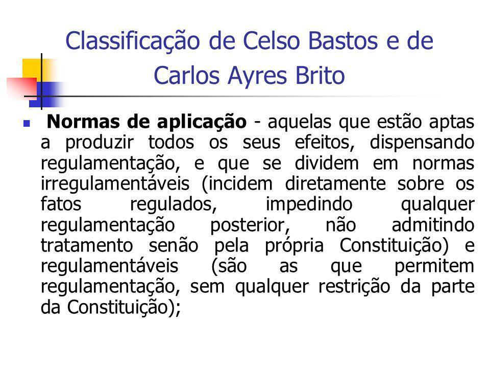 Classificação de Celso Bastos e de Carlos Ayres Brito Normas de aplicação - aquelas que estão aptas a produzir todos os seus efeitos, dispensando regu