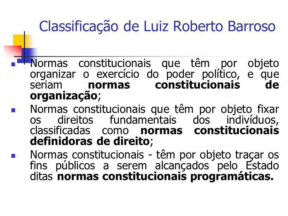 Classificação de Luiz Roberto Barroso Normas constitucionais que têm por objeto organizar o exercício do poder político, e que seriam normas constituc