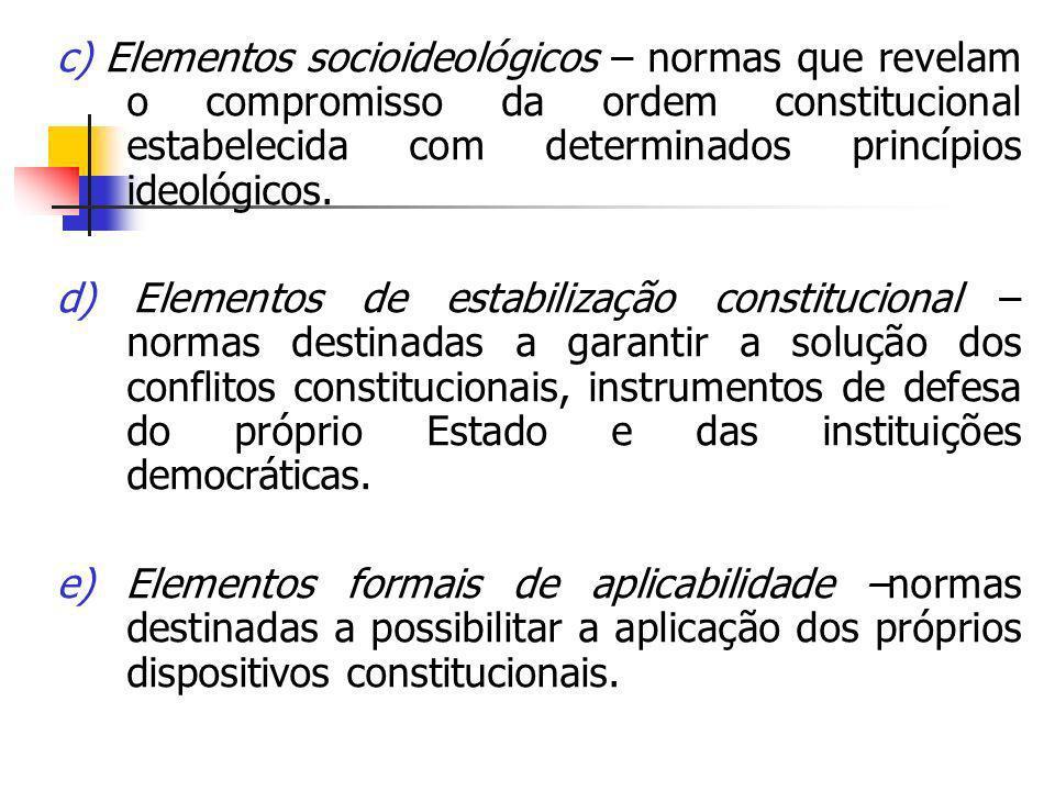 c) Elementos socioideológicos – normas que revelam o compromisso da ordem constitucional estabelecida com determinados princípios ideológicos. d) Elem