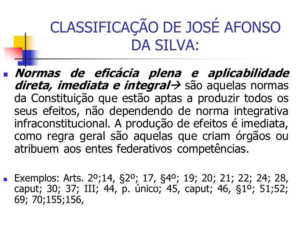 CLASSIFICAÇÃO DE JOSÉ AFONSO DA SILVA: Normas de eficácia plena e aplicabilidade direta, imediata e integral são aquelas normas da Constituição que es