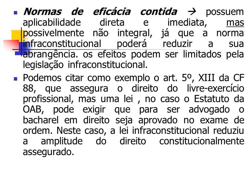 Normas de eficácia contida possuem aplicabilidade direta e imediata, mas possivelmente não integral, já que a norma infraconstitucional poderá reduzir