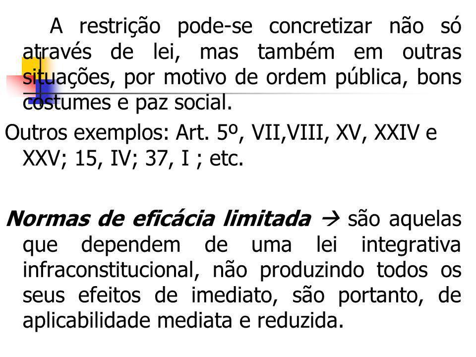 A restrição pode-se concretizar não só através de lei, mas também em outras situações, por motivo de ordem pública, bons costumes e paz social. Outros
