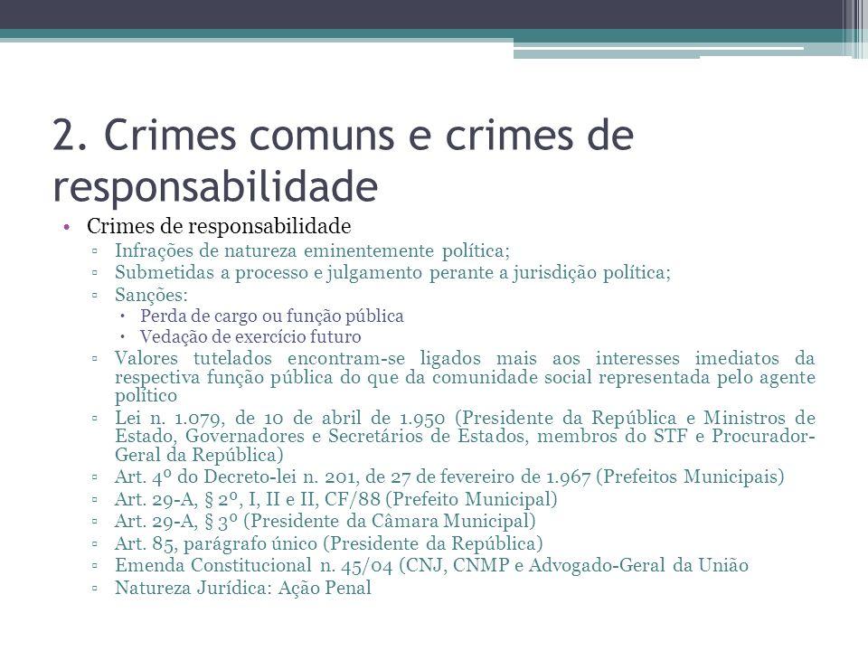 2. Crimes comuns e crimes de responsabilidade Crimes de responsabilidade Infrações de natureza eminentemente política; Submetidas a processo e julgame
