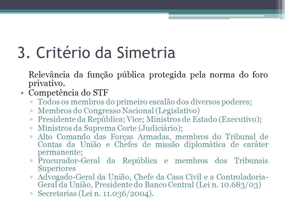 3. Critério da Simetria Relevância da função pública protegida pela norma do foro privativo. Competência do STF Todos os membros do primeiro escalão d