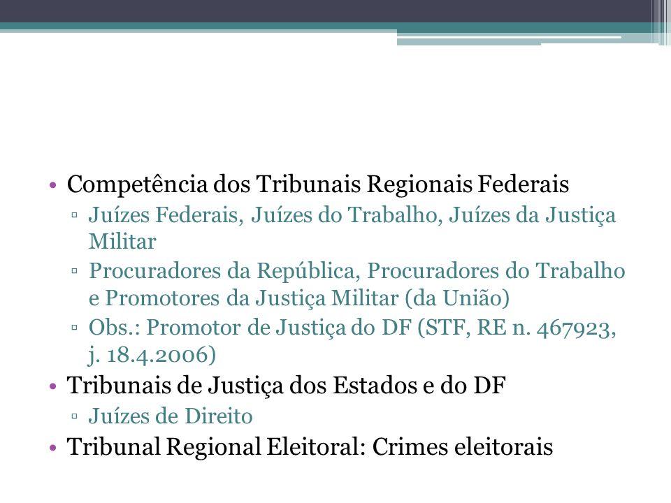 Competência dos Tribunais Regionais Federais Juízes Federais, Juízes do Trabalho, Juízes da Justiça Militar Procuradores da República, Procuradores do