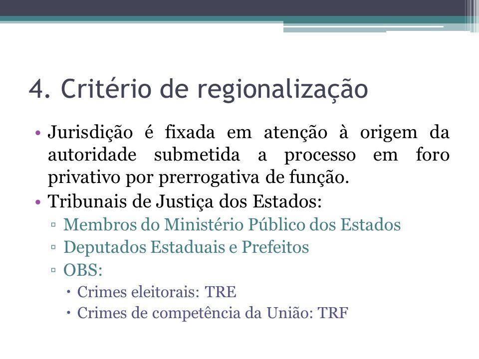 4. Critério de regionalização Jurisdição é fixada em atenção à origem da autoridade submetida a processo em foro privativo por prerrogativa de função.