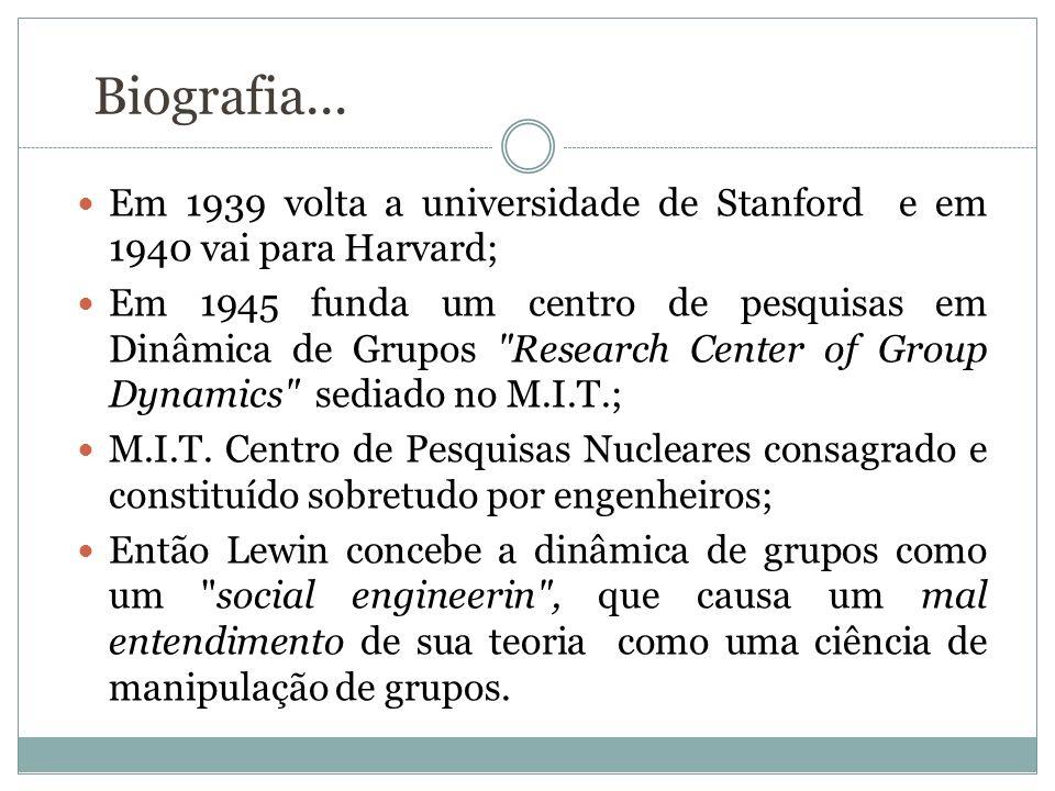 Biografia... Em 1939 volta a universidade de Stanford e em 1940 vai para Harvard; Em 1945 funda um centro de pesquisas em Dinâmica de Grupos