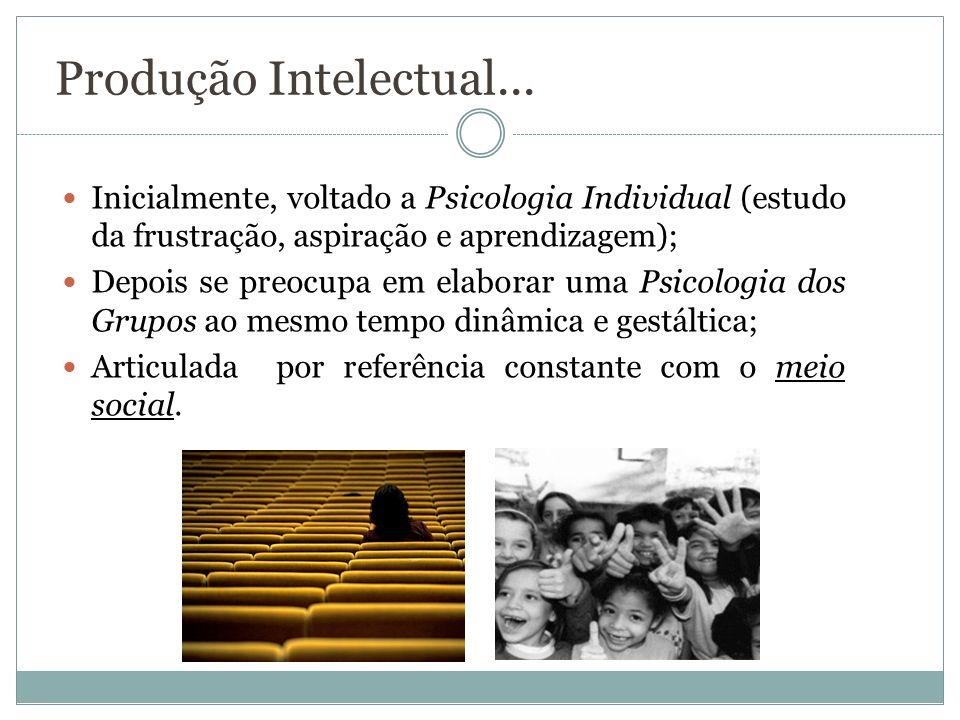 Produção Intelectual... Inicialmente, voltado a Psicologia Individual (estudo da frustração, aspiração e aprendizagem); Depois se preocupa em elaborar