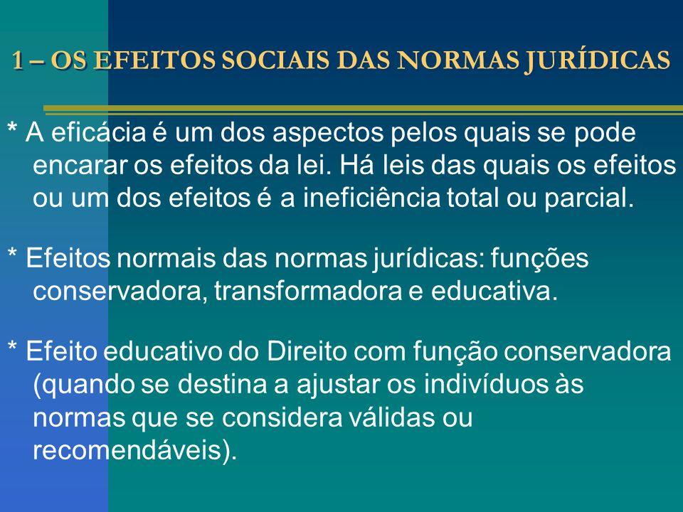 1 – OS EFEITOS SOCIAIS DAS NORMAS JURÍDICAS * A eficácia é um dos aspectos pelos quais se pode encarar os efeitos da lei. Há leis das quais os efeitos