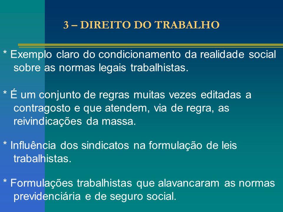 3 – DIREITO DO TRABALHO * Exemplo claro do condicionamento da realidade social sobre as normas legais trabalhistas. * É um conjunto de regras muitas v