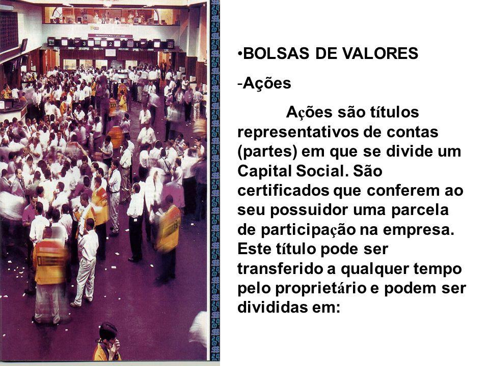BOLSAS DE VALORES -Ações A ç ões são t í tulos representativos de contas (partes) em que se divide um Capital Social. São certificados que conferem ao