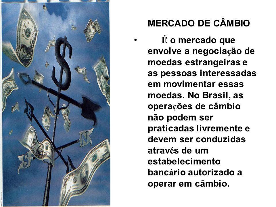 MERCADO DE CÂMBIO É o mercado que envolve a negocia ç ão de moedas estrangeiras e as pessoas interessadas em movimentar essas moedas.