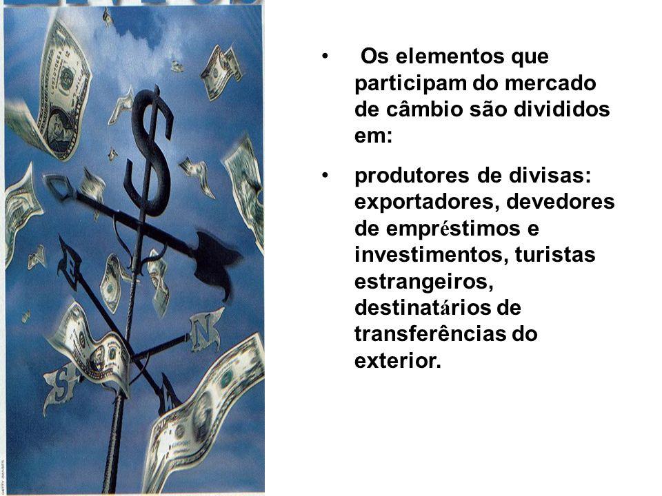 Os elementos que participam do mercado de câmbio são divididos em: produtores de divisas: exportadores, devedores de empr é stimos e investimentos, turistas estrangeiros, destinat á rios de transferências do exterior.