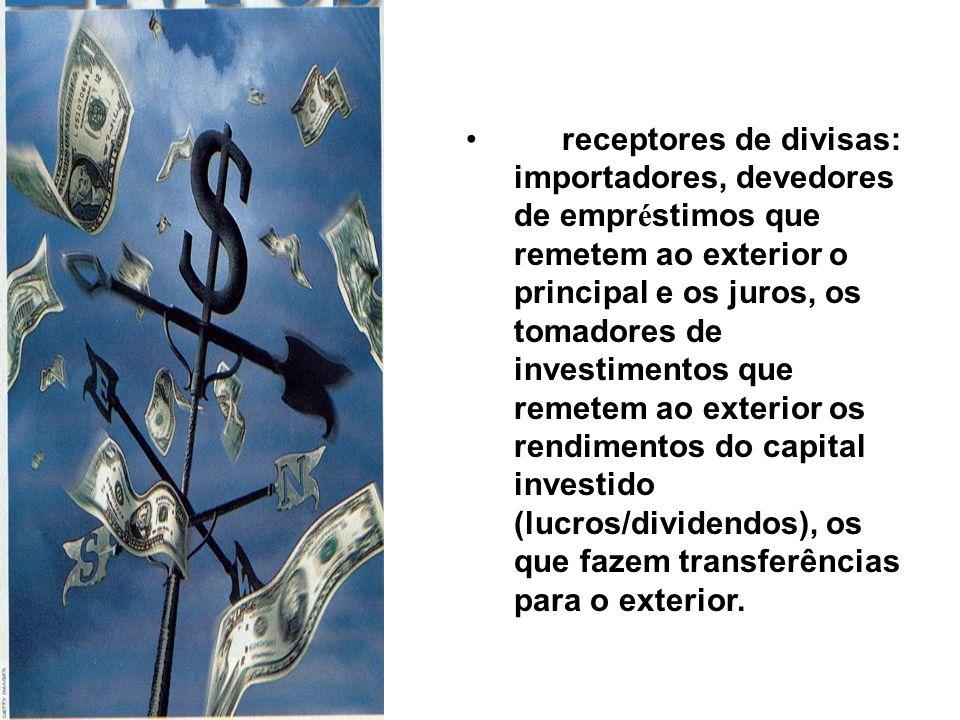 receptores de divisas: importadores, devedores de empr é stimos que remetem ao exterior o principal e os juros, os tomadores de investimentos que remetem ao exterior os rendimentos do capital investido (lucros/dividendos), os que fazem transferências para o exterior.