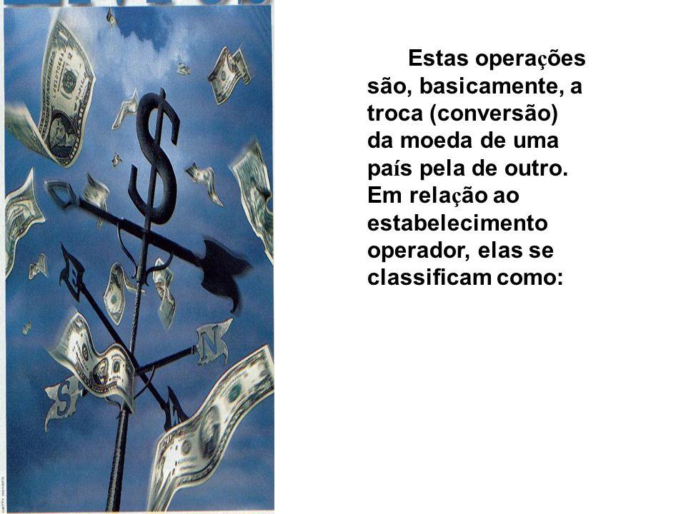 Estas opera ç ões são, basicamente, a troca (conversão) da moeda de uma pa í s pela de outro.
