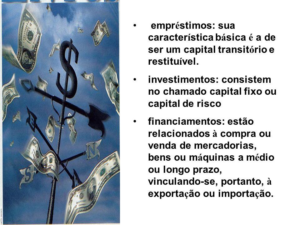 empr é stimos: sua caracter í stica b á sica é a de ser um capital transit ó rio e restitu í vel. investimentos: consistem no chamado capital fixo ou