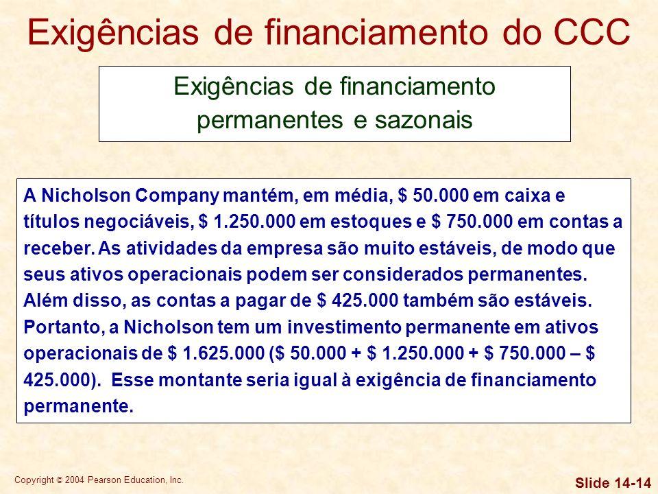 Copyright © 2004 Pearson Education, Inc. Slide 14-13 Exigências de financiamento do CCC Exigências de financiamento permanentes e sazonais Se as venda