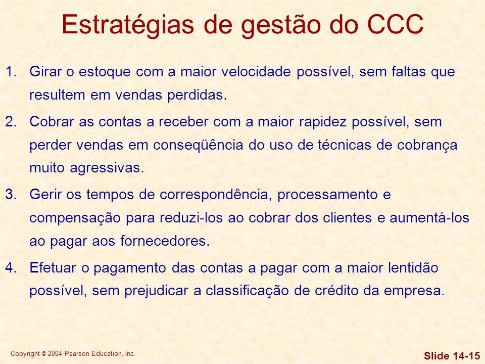 Copyright © 2004 Pearson Education, Inc. Slide 14-14 Exigências de financiamento do CCC Exigências de financiamento permanentes e sazonais A Nicholson
