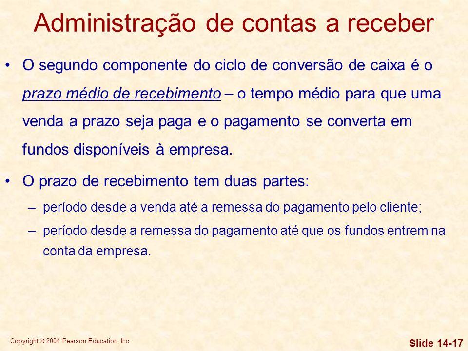 Copyright © 2004 Pearson Education, Inc. Slide 14-16 Administração de estoques Os diversos departamentos de uma empresa (finanças, produção, marketing