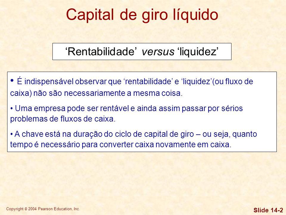 Copyright © 2004 Pearson Education, Inc. Slide 14-1 O capital de giro inclui os ativos circulantes de uma empresa, ou seja, caixa e títulos negociávei