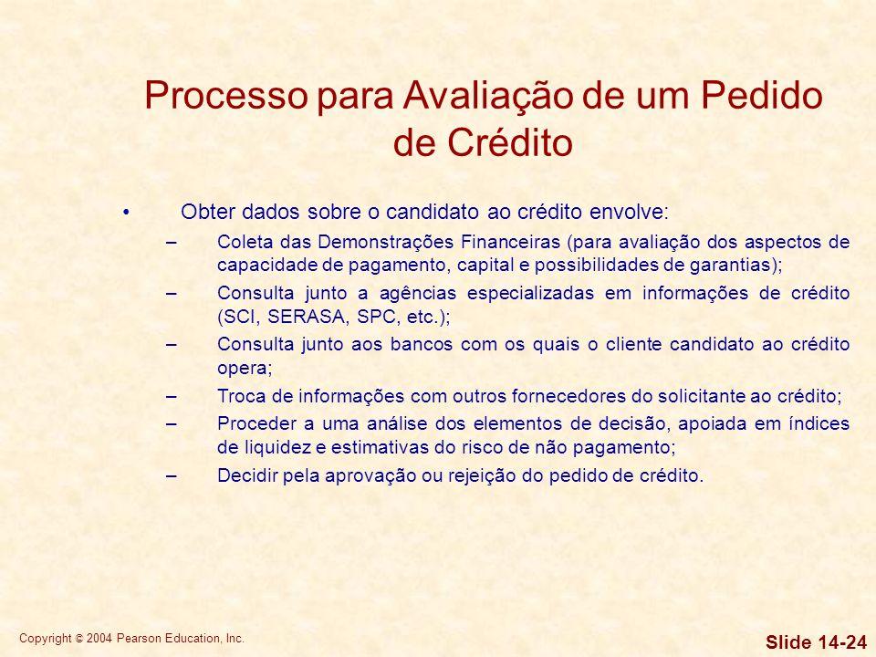 Copyright © 2004 Pearson Education, Inc. Slide 14-23 Políticas para Concessão de Crédito e Cobrança POLÍTICAS DE CRÉDITO – existem cinco aspectos a se