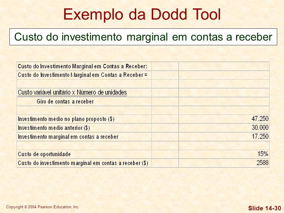 Copyright © 2004 Pearson Education, Inc. Slide 14-29 Exemplo da Dodd Tool Contribuição das vendas adicionais ao lucro