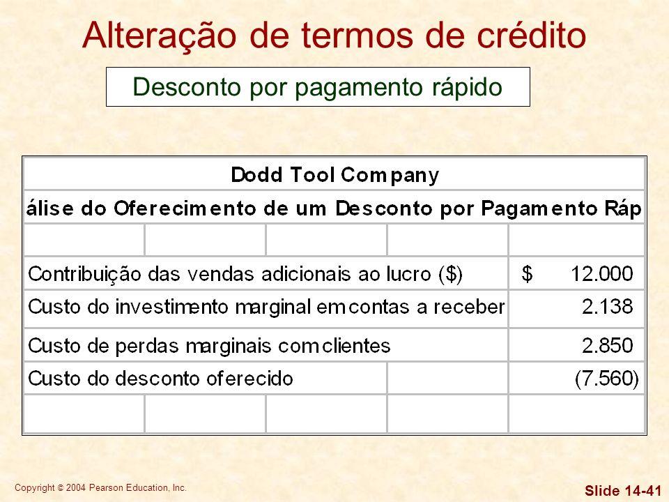 Copyright © 2004 Pearson Education, Inc. Slide 14-40 Alteração de termos de crédito Desconto por pagamento rápido