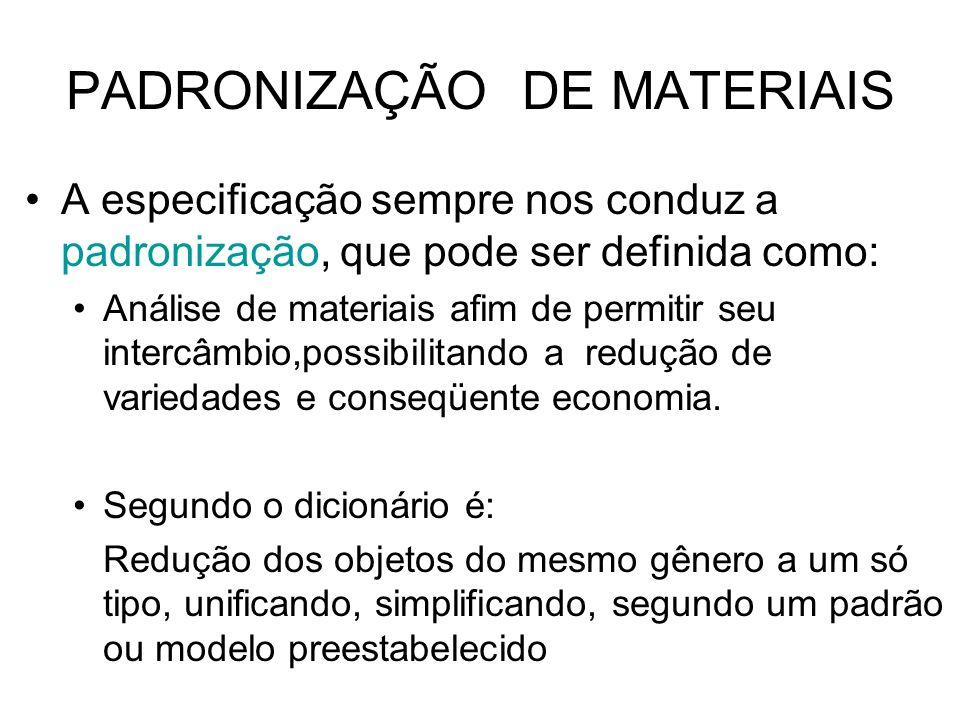 PADRONIZAÇÃO DE MATERIAIS A especificação sempre nos conduz a padronização, que pode ser definida como: Análise de materiais afim de permitir seu inte