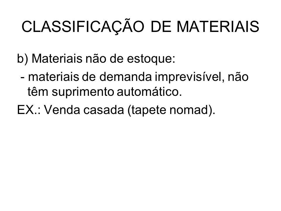 CLASSIFICAÇÃO DE MATERIAIS b) Materiais não de estoque: - materiais de demanda imprevisível, não têm suprimento automático. EX.: Venda casada (tapete