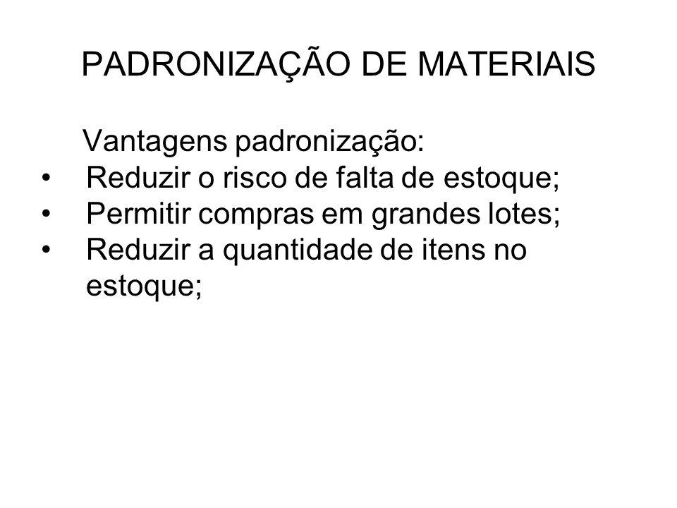 PADRONIZAÇÃO DE MATERIAIS Vantagens padronização: Reduzir o risco de falta de estoque; Permitir compras em grandes lotes; Reduzir a quantidade de iten