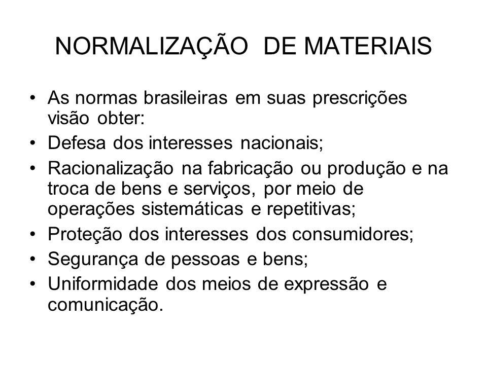 NORMALIZAÇÃO DE MATERIAIS As normas brasileiras em suas prescrições visão obter: Defesa dos interesses nacionais; Racionalização na fabricação ou prod