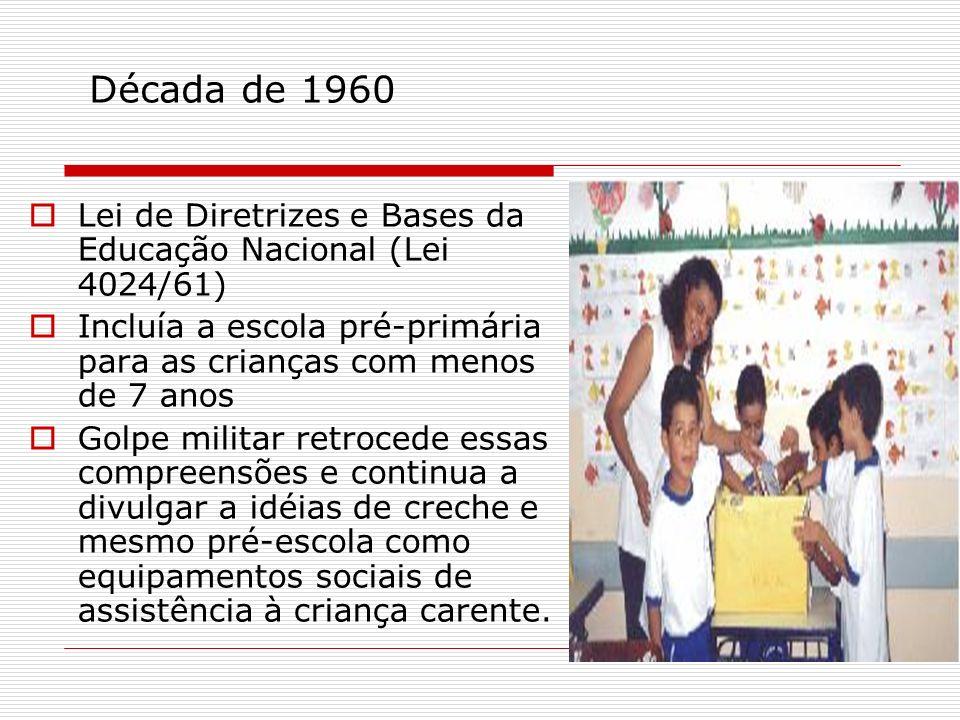 Década de 1960 Lei de Diretrizes e Bases da Educação Nacional (Lei 4024/61) Incluía a escola pré-primária para as crianças com menos de 7 anos Golpe m