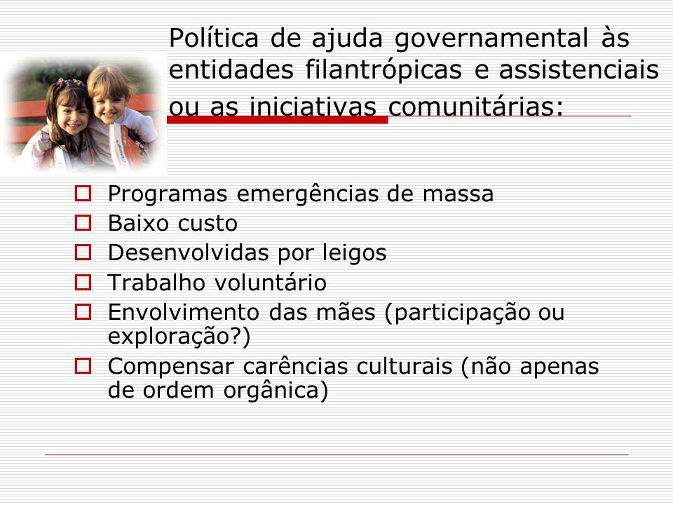 Política de ajuda governamental às entidades filantrópicas e assistenciais ou as iniciativas comunitárias: Programas emergências de massa Baixo custo