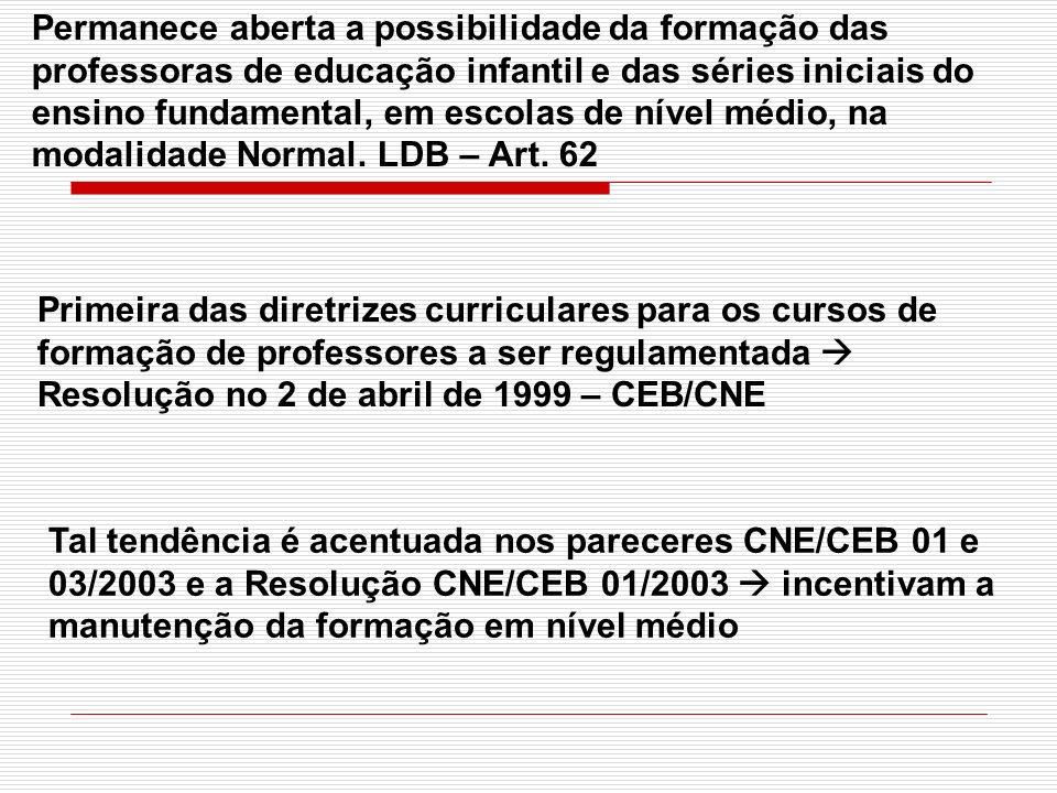 Tal tendência é acentuada nos pareceres CNE/CEB 01 e 03/2003 e a Resolução CNE/CEB 01/2003 incentivam a manutenção da formação em nível médio Permanec