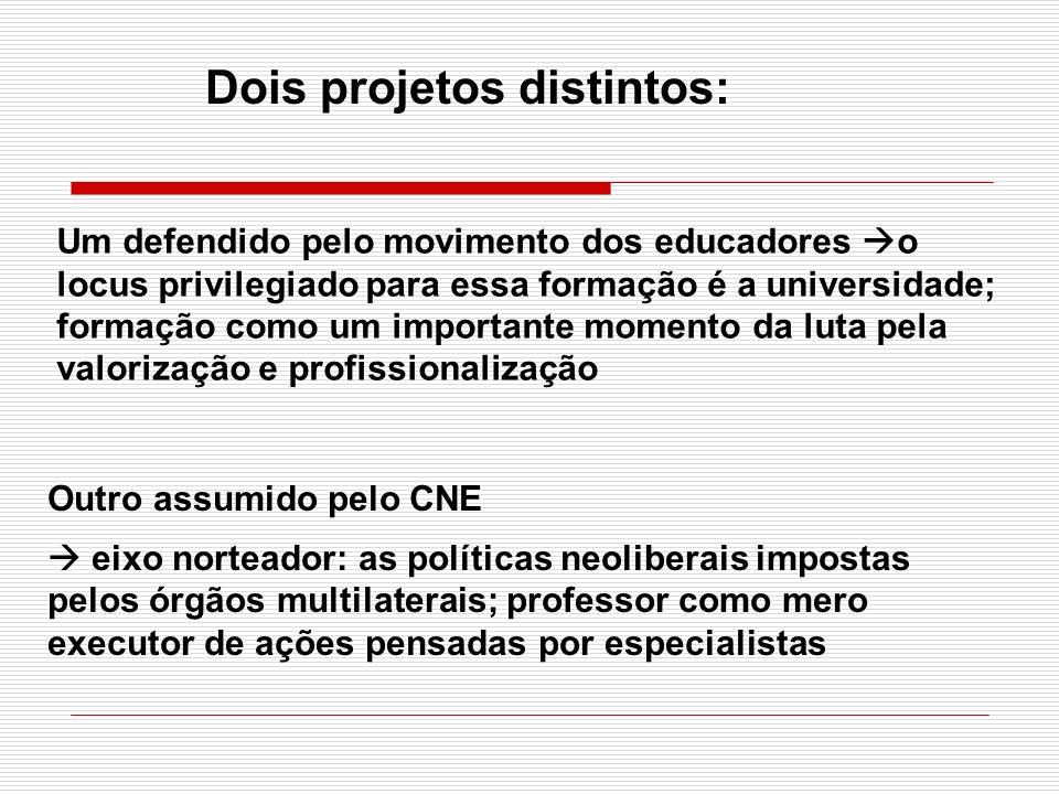 Outro assumido pelo CNE eixo norteador: as políticas neoliberais impostas pelos órgãos multilaterais; professor como mero executor de ações pensadas p