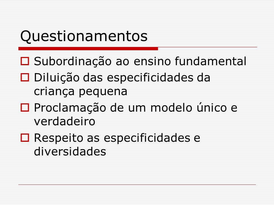 Questionamentos Subordinação ao ensino fundamental Diluição das especificidades da criança pequena Proclamação de um modelo único e verdadeiro Respeit