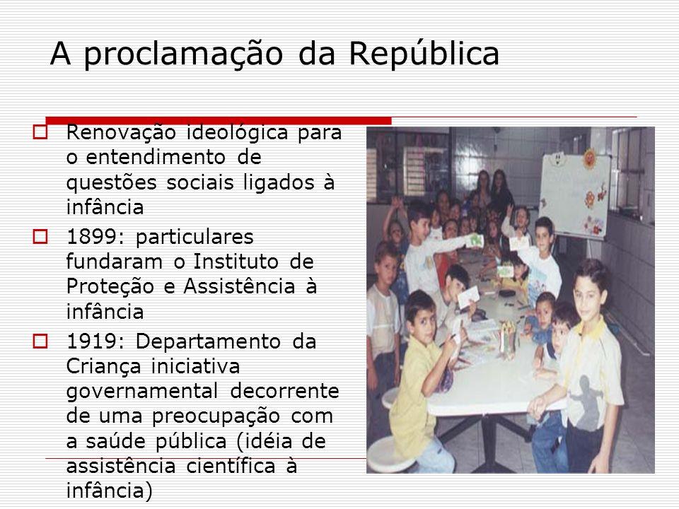 Criação de uma série de escolas infantis (imigrantes) 1908: primeira escola infantil em Belo Horizonte 1909: primeiro jardim de infância municipal do Rio de Janeiro Neste período o ensino primário atendia apenas parte da população em idade escolar