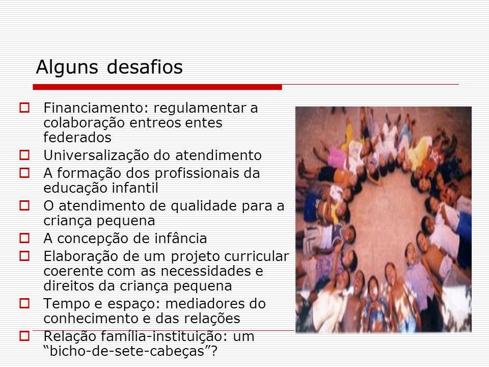 Alguns desafios Financiamento: regulamentar a colaboração entreos entes federados Universalização do atendimento A formação dos profissionais da educa