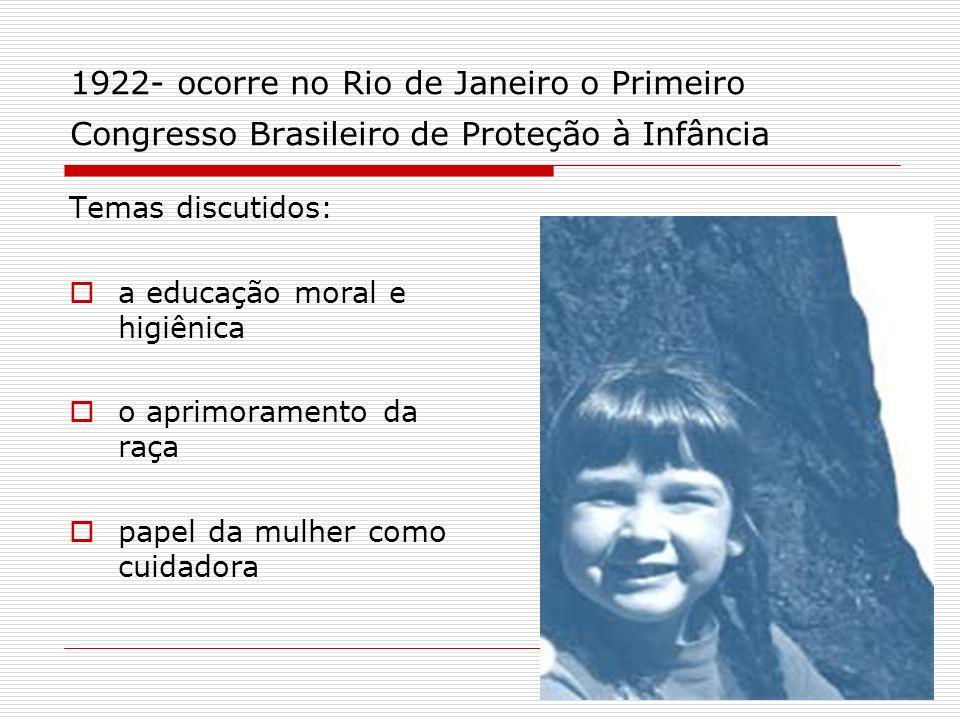 1922- ocorre no Rio de Janeiro o Primeiro Congresso Brasileiro de Proteção à Infância Temas discutidos: a educação moral e higiênica o aprimoramento d