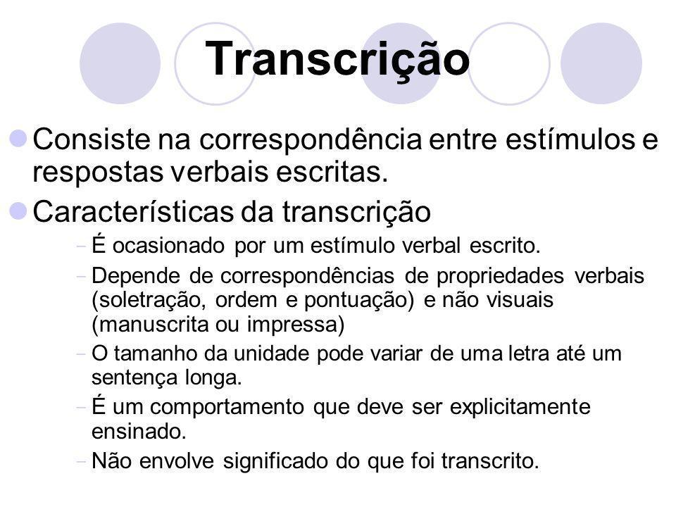 Transcrição Consiste na correspondência entre estímulos e respostas verbais escritas. Características da transcrição  É ocasionado por um estímulo ve