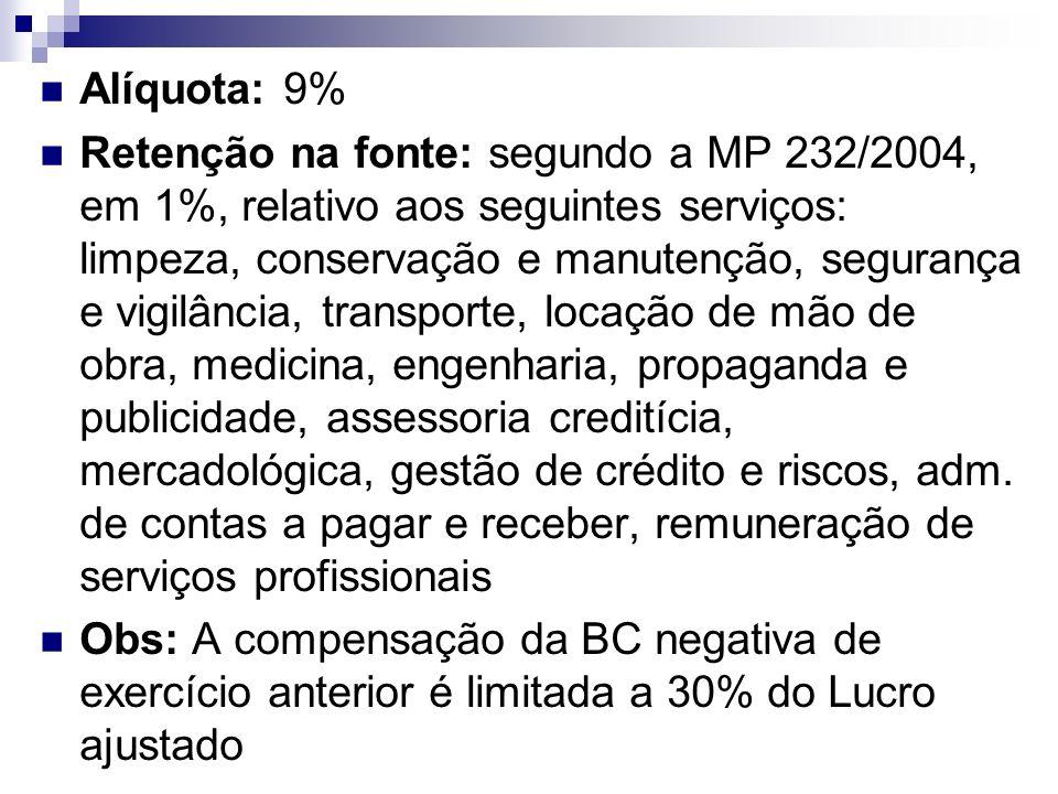 Alíquota: 9% Retenção na fonte: segundo a MP 232/2004, em 1%, relativo aos seguintes serviços: limpeza, conservação e manutenção, segurança e vigilânc