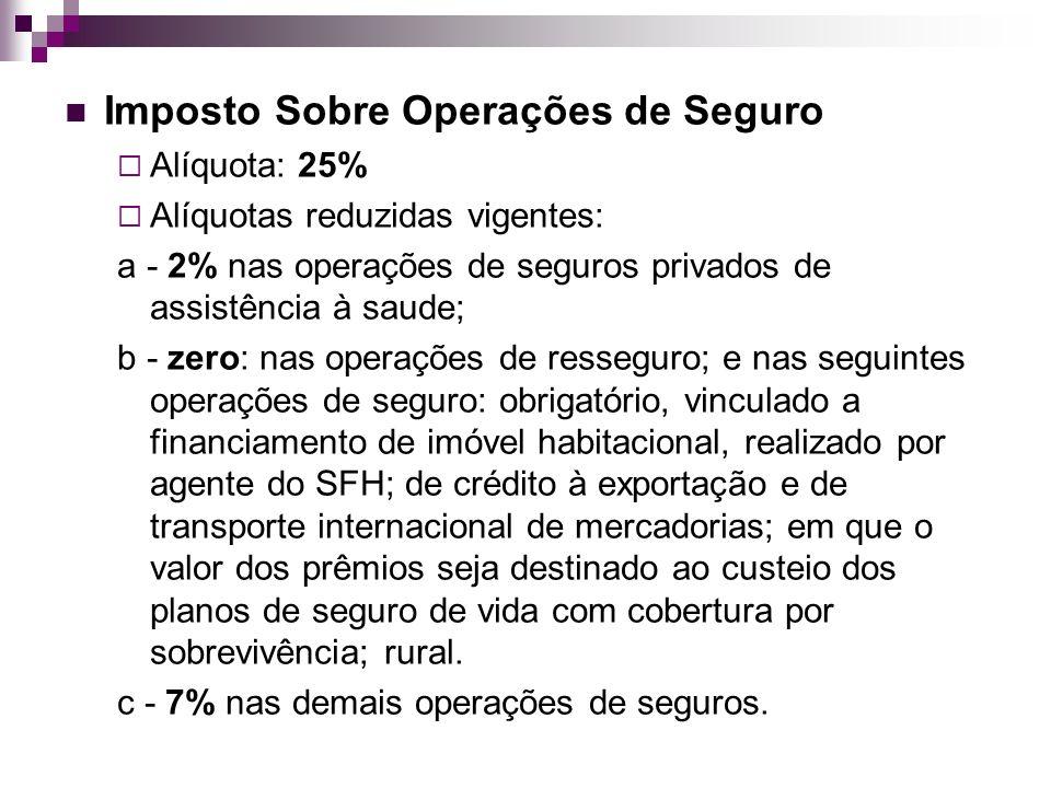 Imposto Sobre Operações de Seguro Alíquota: 25% Alíquotas reduzidas vigentes: a - 2% nas operações de seguros privados de assistência à saude; b - zer