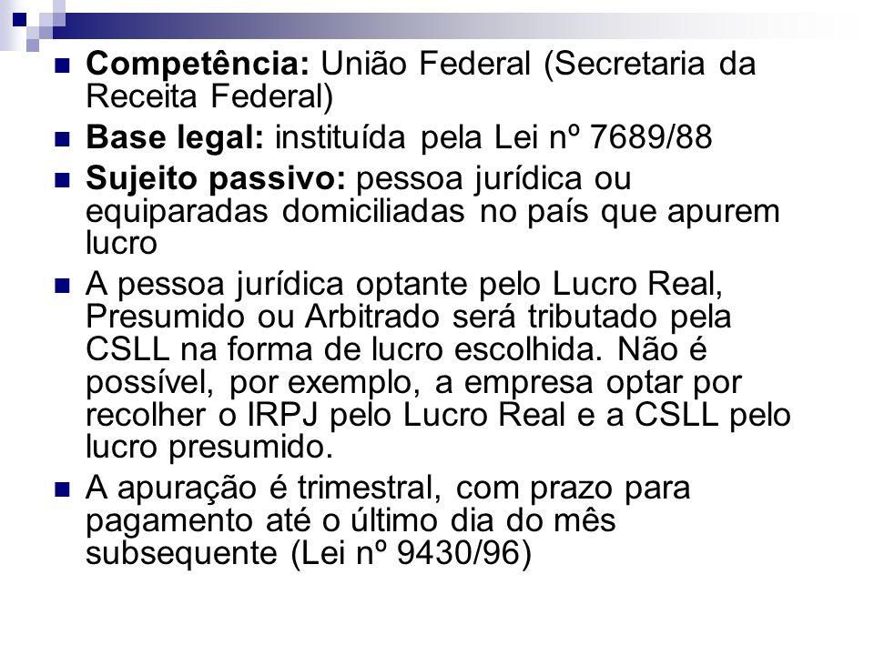 Competência: União Federal (Secretaria da Receita Federal) Base legal: instituída pela Lei nº 7689/88 Sujeito passivo: pessoa jurídica ou equiparadas