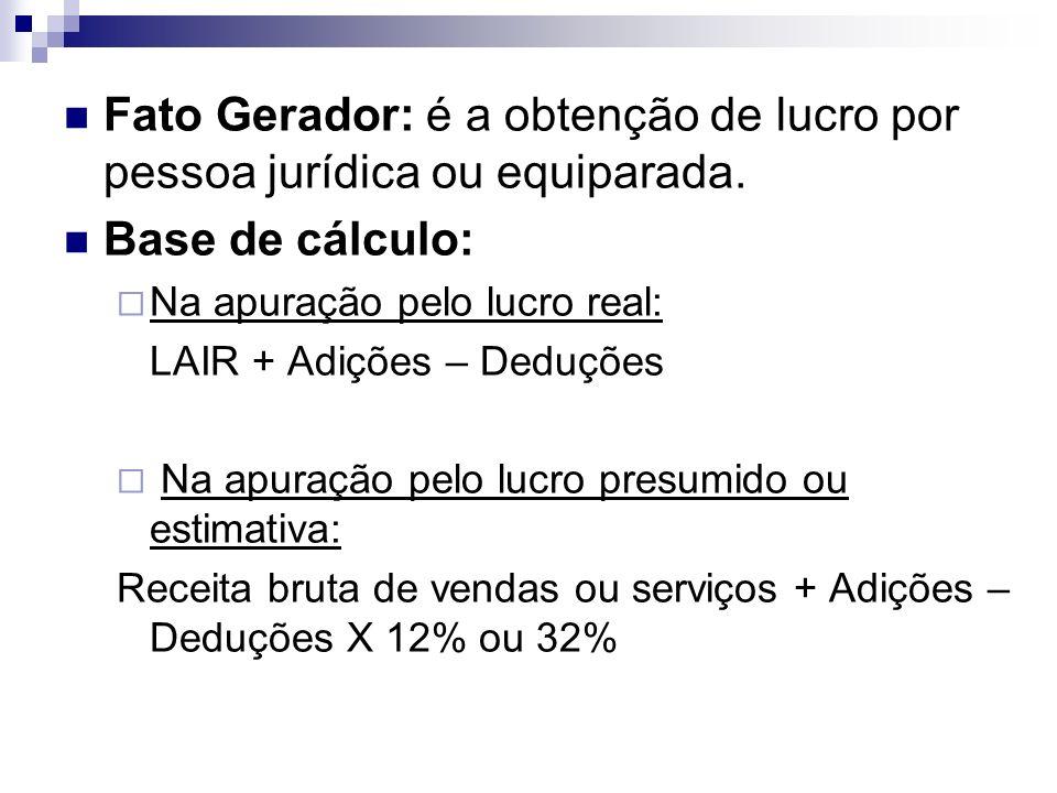 Fato Gerador: é a obtenção de lucro por pessoa jurídica ou equiparada. Base de cálculo: Na apuração pelo lucro real: LAIR + Adições – Deduções Na apur
