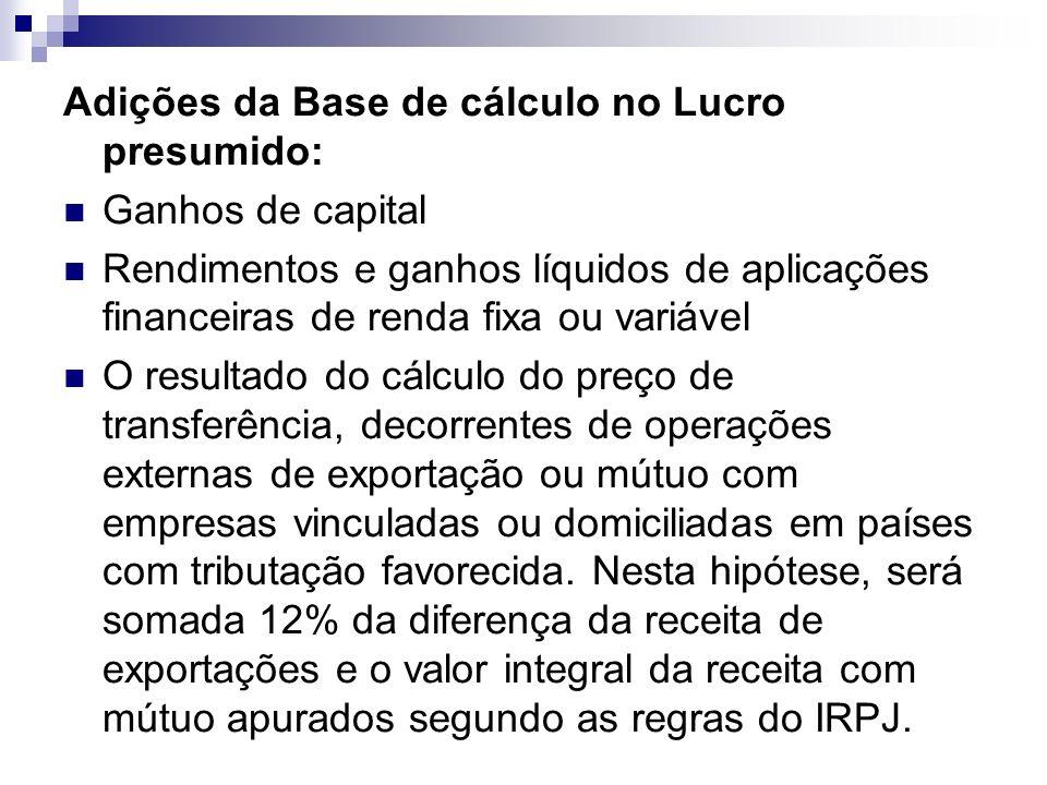 Adições da Base de cálculo no Lucro presumido: Ganhos de capital Rendimentos e ganhos líquidos de aplicações financeiras de renda fixa ou variável O r