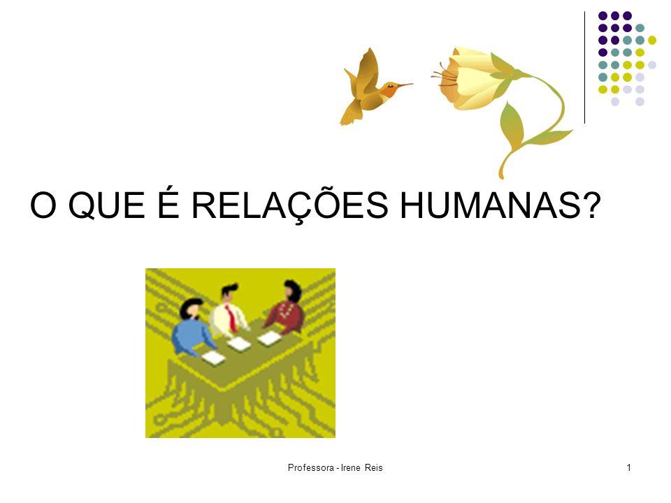Professora - Irene Reis2 RELAÇÕES HUMANAS UMA CIÊNCIA DO COMPORTAMENTO HUMANO VOCÊ JÁ DEVER TER OUVIDO FALAR EM: Relações Públicas Relações Comunitárias Relações Internacionais Dinâmica de Grupo Relações Humanas