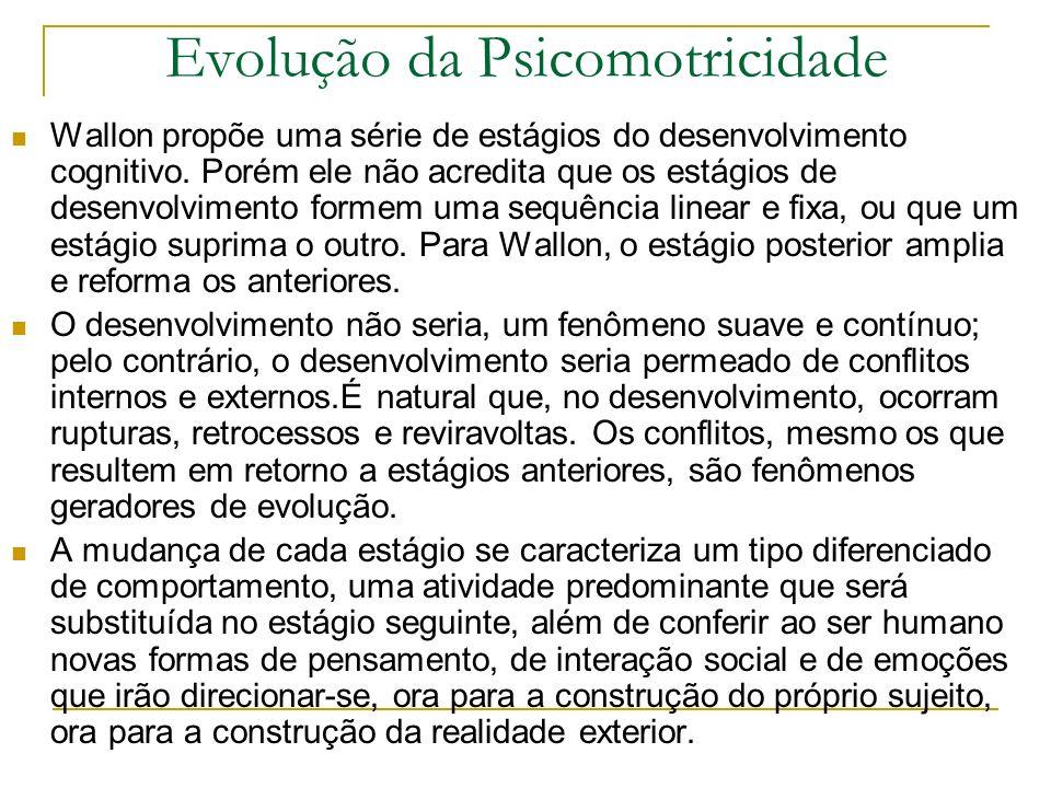 Evolução da Psicomotricidade Wallon propõe uma série de estágios do desenvolvimento cognitivo.