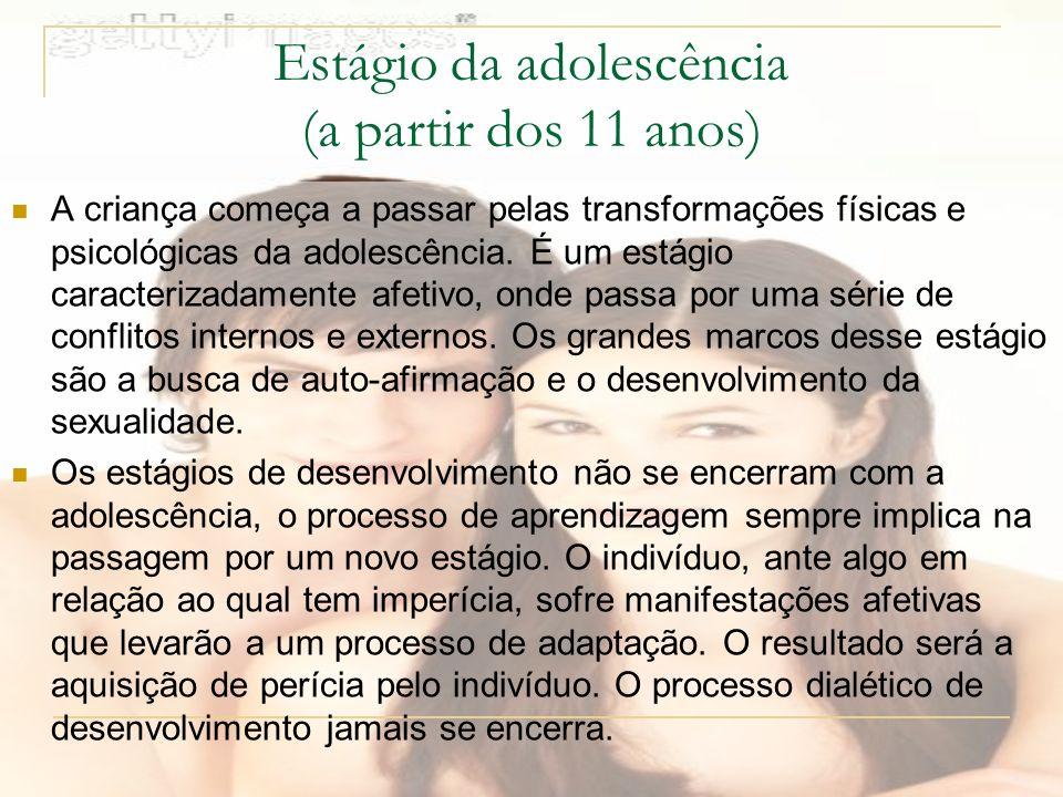 Estágio da adolescência (a partir dos 11 anos) A criança começa a passar pelas transformações físicas e psicológicas da adolescência.