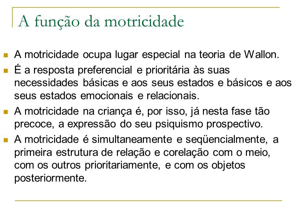 A função da motricidade A motricidade ocupa lugar especial na teoria de Wallon.